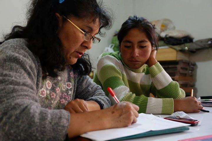 The girls receiving tutoring