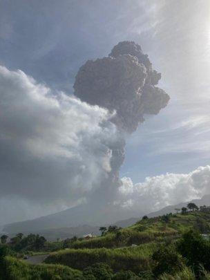 The volcano violently erupting