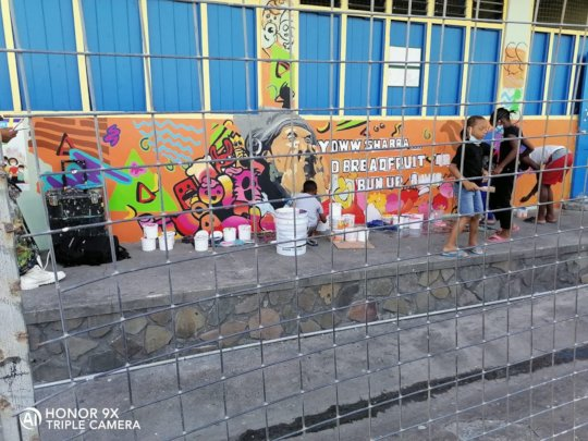 One of the murals made at the shelter