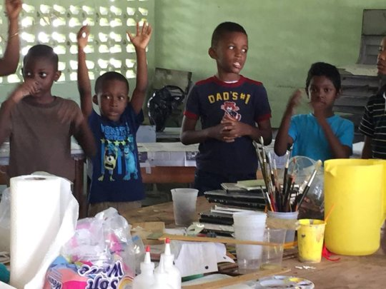 Children getting ready to create