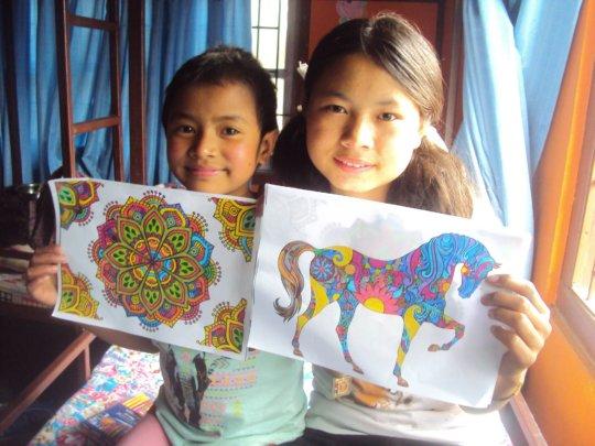 PRIYA,Class-7 and SUSMITA, Class-1 with their ARTS