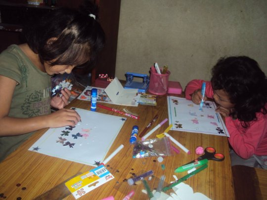 Dolma Class-1 and Pemba Class-UKG are busy on Art.