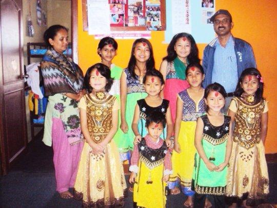 Children happy with new dress on Dashain festival.