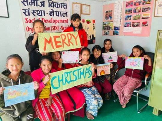 Merry Christmas wishes from children.