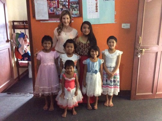 Children happy with LEILA with new-dress !