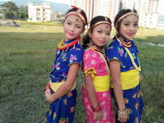 Children on traditional Nepali Dresses.