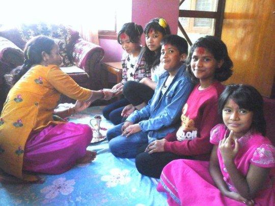 Dashain celebration with other children.