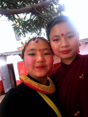 PRIYA and ANJU ready for folk dance on parent'sday