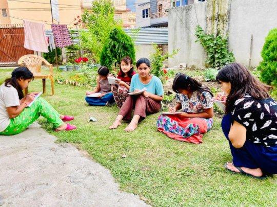 During lockeddown children on self study at garden