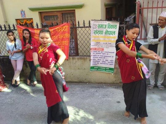 Children dancing at DEUSIBHAILO in DIPAWALI Festiv