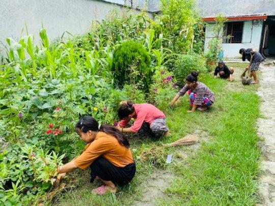 Children maintaining garden themselves.