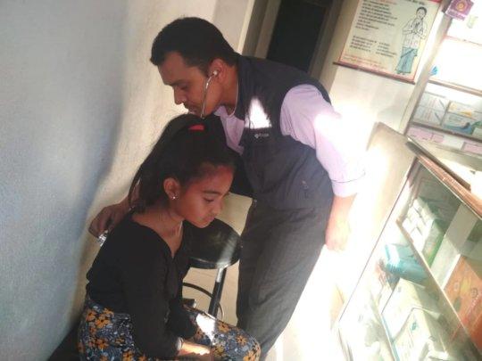 Saraswati's health checking at clinic
