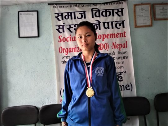 Priya,class-10 received MEDAL on Volleyball Compet