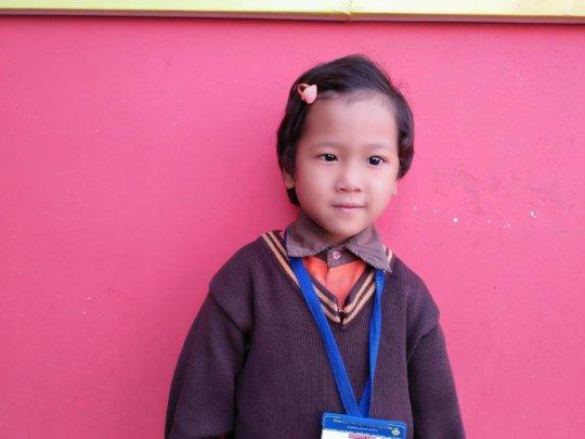 SABITA,class-LKG ready for her school .