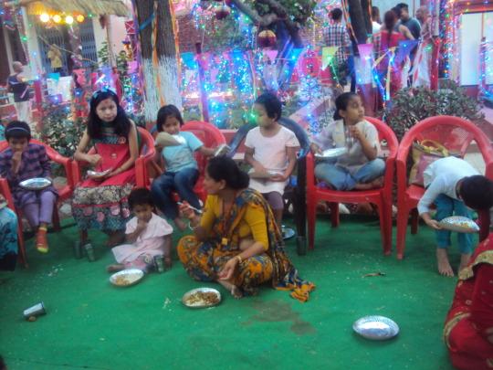 Girls enjoying at feast& festive with Karki-family