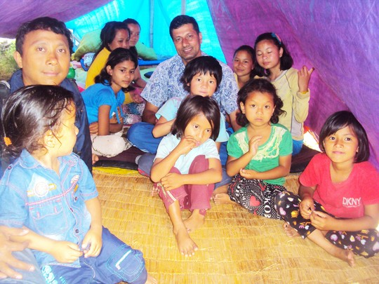 Children taken shelter on Tent due to earthquakes.
