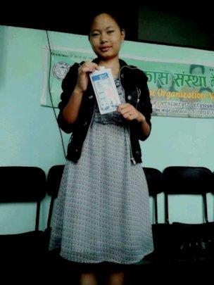 PRIYA, class-9 received award on debate.