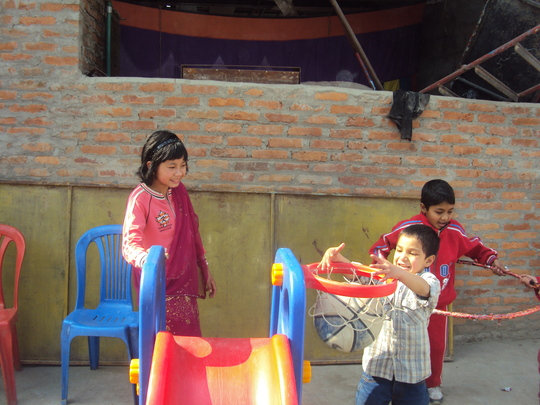 Children playing at their school.