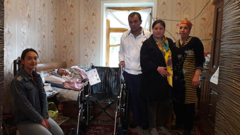 One wheelchair delivered to a grateful household