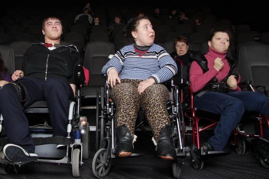 Viktoria (right) enjoying the cinema trip