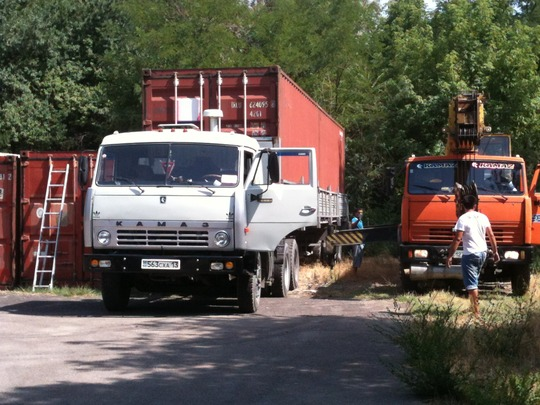 The container finally arrives on our site...