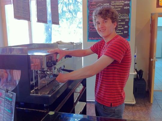 Pasha hard at work making coffee