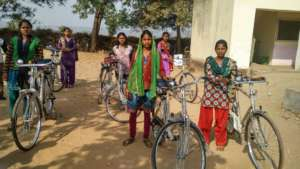 Girls with their new bicycles