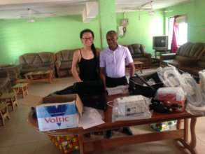 Boya and Dr. Fofie with the supplies.