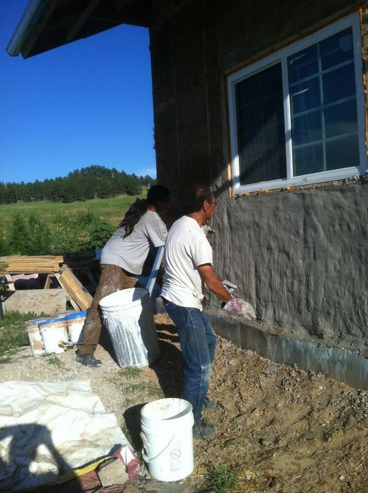 Plastering Straw/Cob Home on Pine Ridge