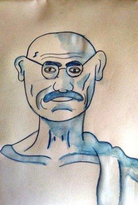 Portrait of Gandhiji drawn in NY to Mumbai session