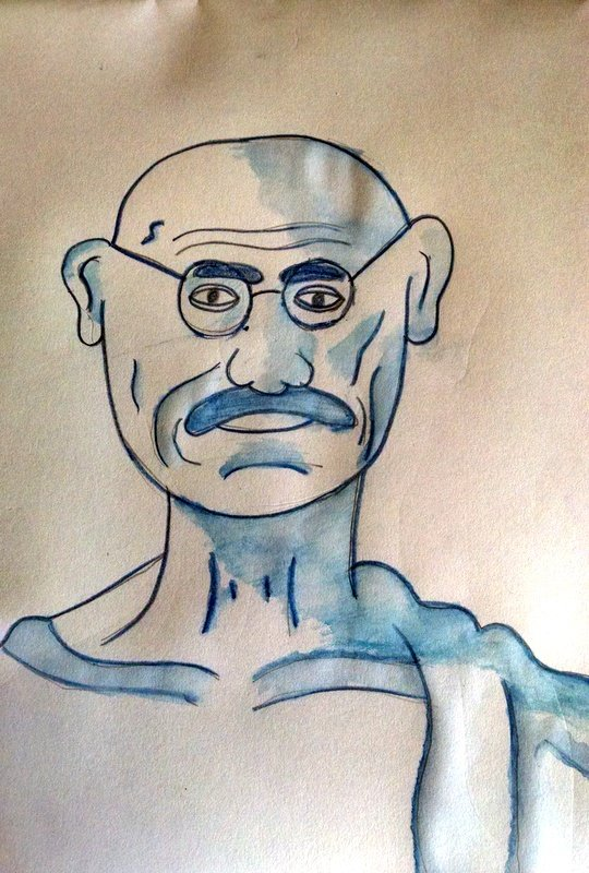 Portrait of Gandhiji drawn in NY to Mumbai session