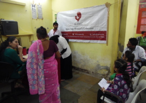 Udaan beneficiaries getting checked at eye camp