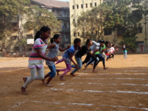 Girls participating during Sports Day
