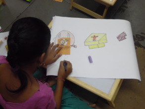 Girls participated in an art competition