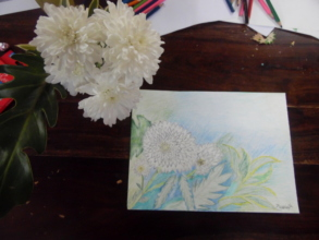 Successfully sketched flowers during art class