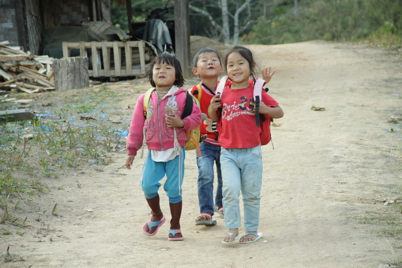 Children from the community walking to school