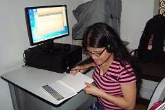 Blind student using ICT tools