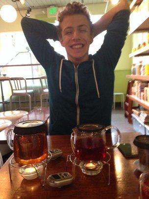 Miles enjoying some tea