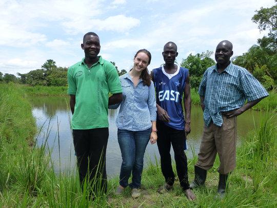 By fish pond in Gulu