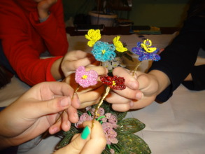 Hand made flowers by YC participants (Drohobych)