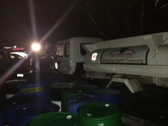 Night delivery of fuel in Guiuan