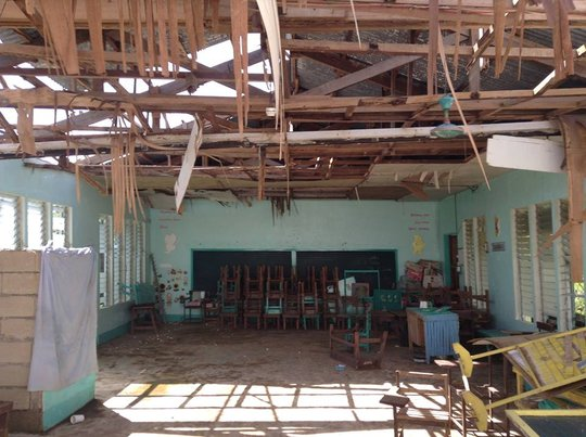 Maidang Elementary in Batad damaged by typhoon