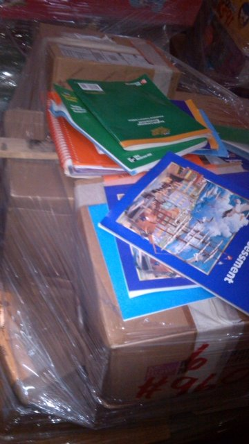 first pallet of school textbooks arrive