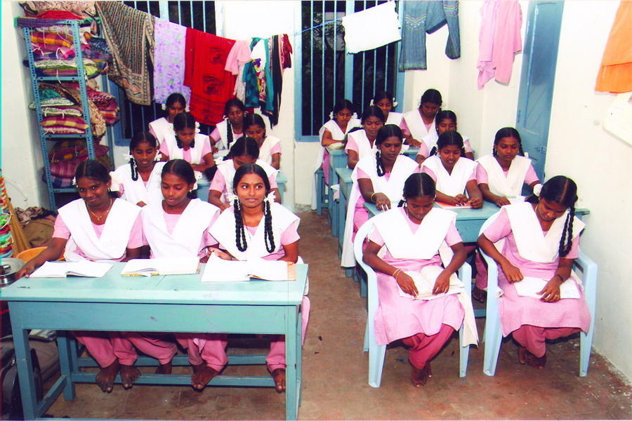 Girl students in Santhome near Chennai