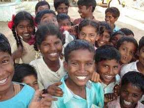 Joyful school children who have fully recovered fr