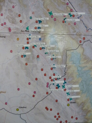 Map of villages in Burma where DARE will operate