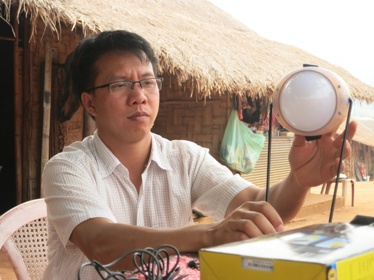 Sai Oo practices using the solar light from TBF