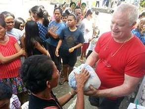 Distribution of rice and food