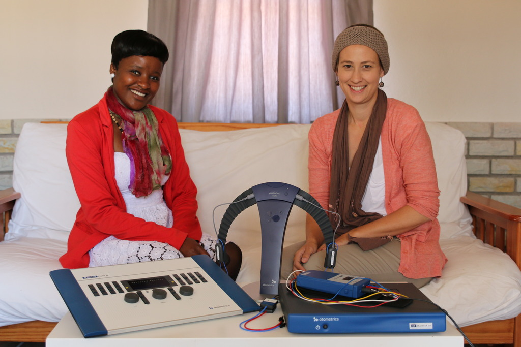 Nella and I with some of the equipment we received