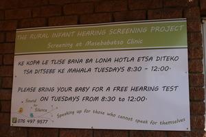 The board outside Masebabatso Clinic